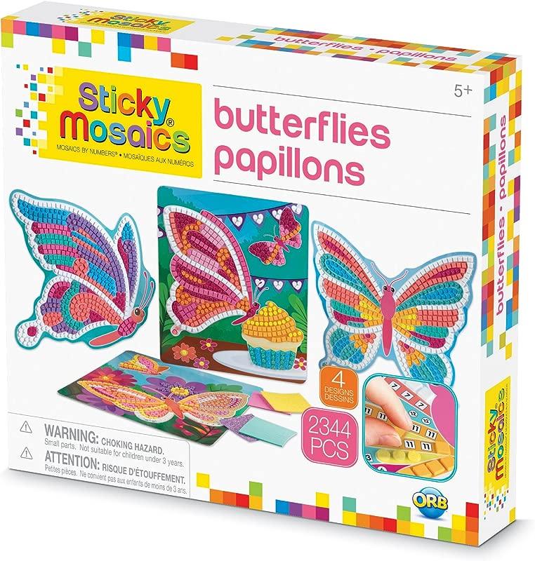The Orb Factory Sticky Mosaics Butterflies Arts Crafts Yellow Blue Pink Purple Pink 12 X 2 X 10 75