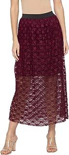 Globus Burgundy Self Design Skirts