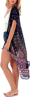 Womens Boho Kimono Cardigan - 3/4 Length Tribal Gypsy Peacock Shawl & Hippie Beach Cover up