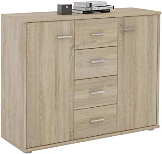 IDIMEX Buffet Elodie, Commode Meuble de Rangement avec 4 tiroirs et 2 Portes, en mélaminé décor chêne Sonoma