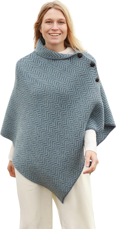 Herringbone Merino Wool Irish Poncho