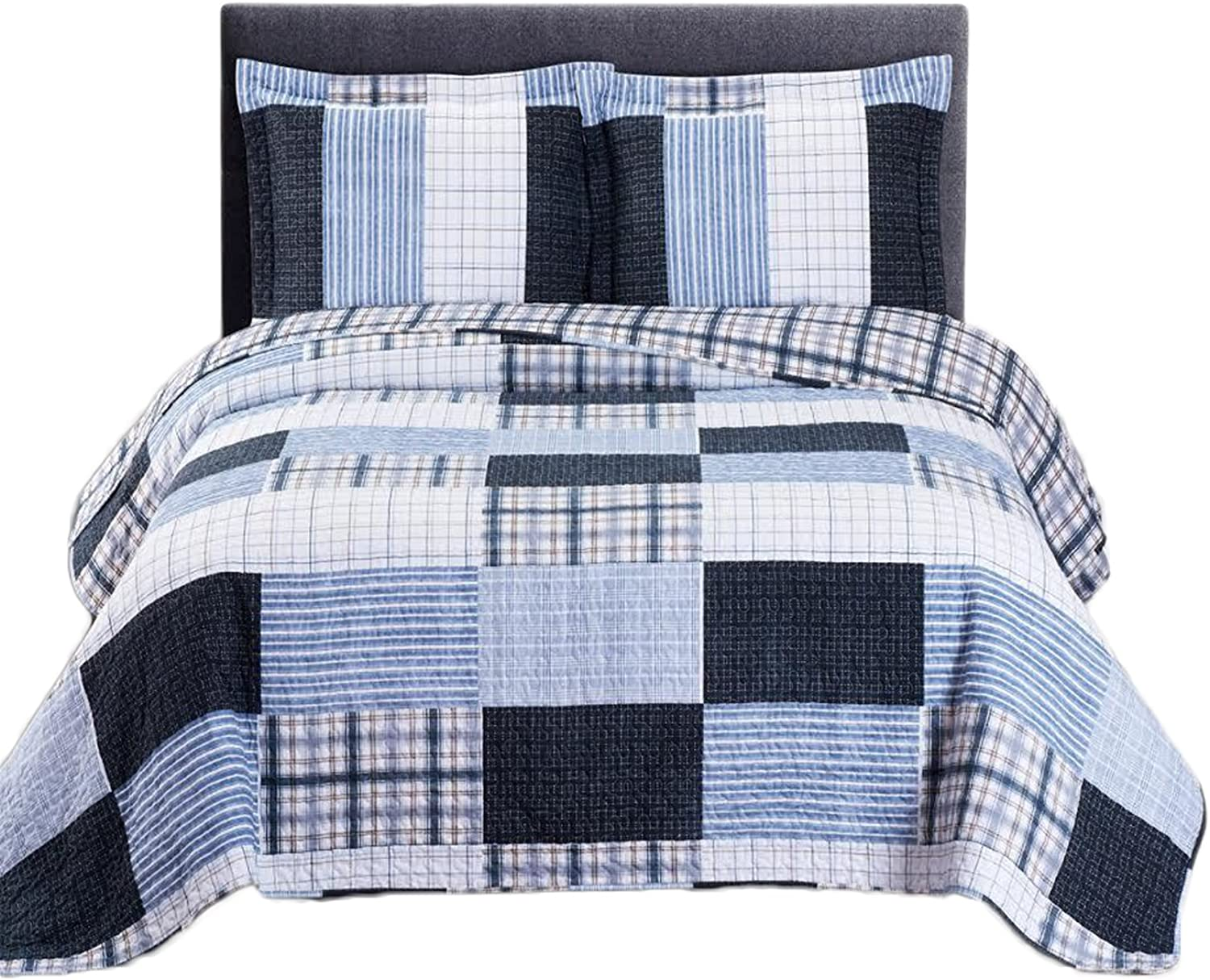 3pc set Zoe- Full Queen 92x96   Size, Over-Sized Quilt, Luxury Microfiber Printed Coverlet Bedspread Sets