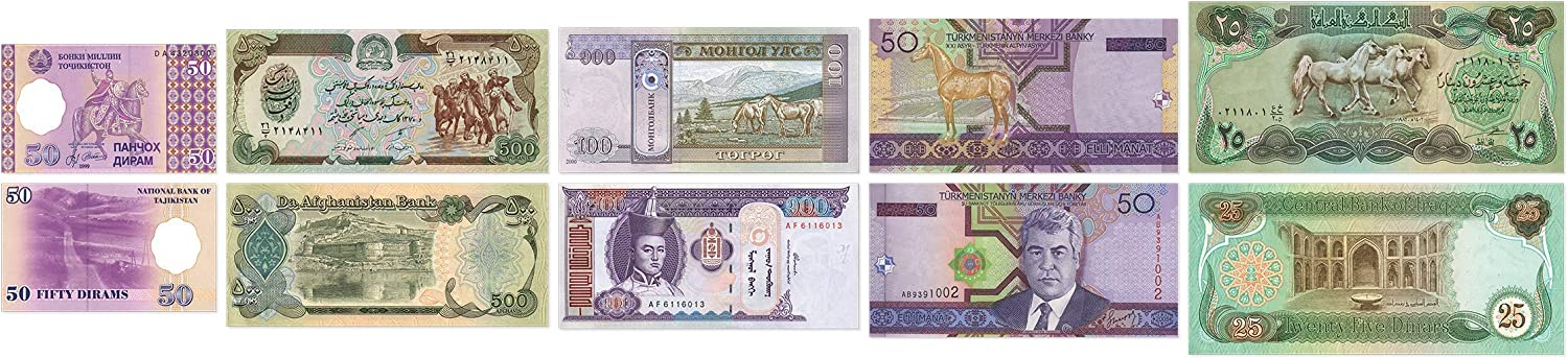 Blistercard Collection 5 Banknotes from Asia