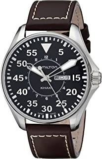 Men's H64611535 Khaki King Pilot Black Watch with Brown Leather Band