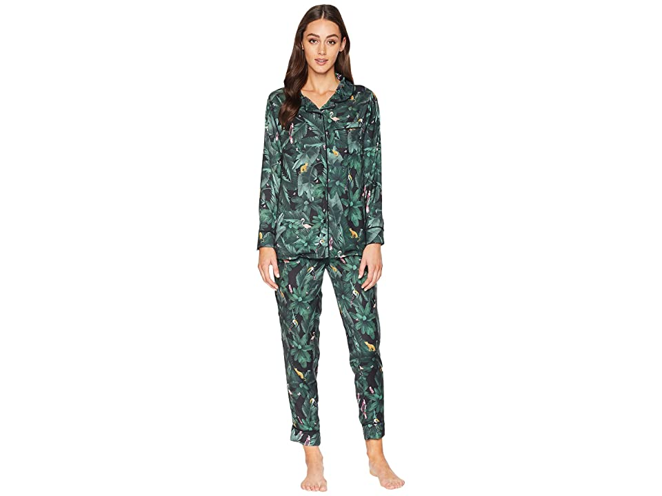 Plush Silky Jungle Print PJ Set (Emerald Print) Women