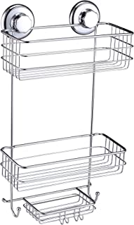 HASKO accessories Suction Cup Shower Caddy - Basket for Shampoo, Conditioner, Soap, Razors - Stainless Steel - (Chrome)