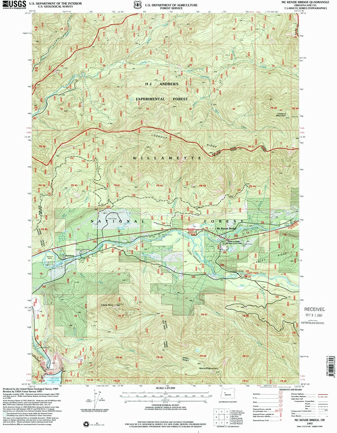 Mc Kenzie Bridge OR topo map, 1 24000 Scale, 7.5 X 7.5 Minute, Historical, 1997, Updated 2001, 26.8 x 21.9 in