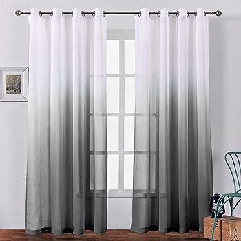 DWCN Faux Linen Ombre Sheer Curtains Semi Voile Gradient Rod Pocket Curtains f