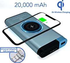 Empowered Dragon Qi Wireless Power Bank 20000mAh, Portable Travel Charger for Smartphones, Tablets, Headphones, Mobile Devices, Adaptive Quick Charge with USB Micro, Type C Ports (Blue Aluminium)