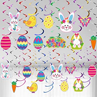 Easter Hanging Swirl Ceiling Decorations Easter Egg Bunny Hanging Swirl Foil Decorations for Home Office School Easter Par...