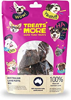 Australian Lamb Puff Treat 80g - Single Ingredient, 100% Natural, Highly Palatable, Healthy, Great Puppy Training Aid, The...