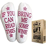 Wine Socks with Gift Packaging: Christmas Gifts with If You Can Read This Socks Bring Me Some Wine Phrase. Great Wine Gifts