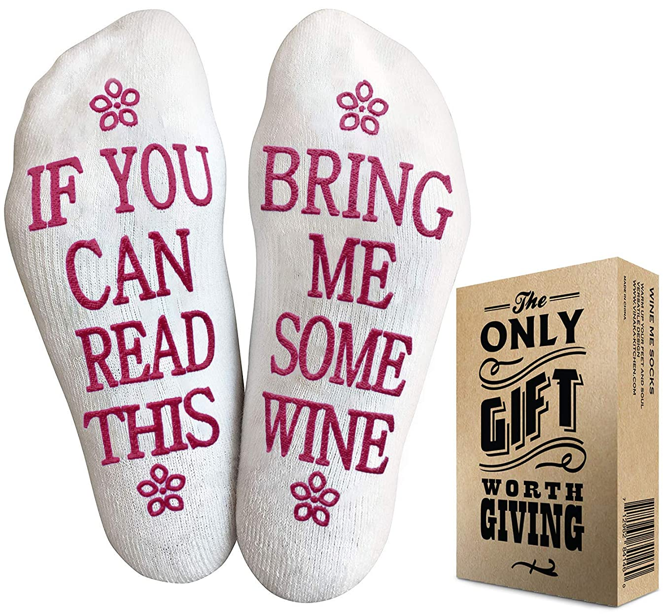 Wine Socks with Gift Packaging: If You Can Read This Socks Bring Me Some Wine Phrase - Funny Accessory for Her, Present for Wife, Gifts for Women Under 10 Dollars, Great Birthday gift for her