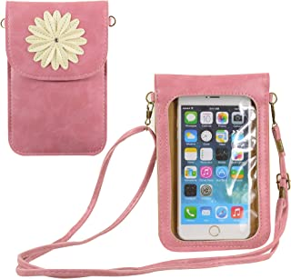 Small Flower Touch Screen Phone Purse Wallet Crossbody Bag Compatible with iPhone Xs Max 8 Plus XR XS, LG V40 V35 V30S G8 ...
