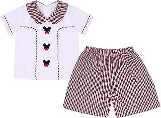 babeeni 婴儿男孩短裤套装可爱米老鼠图案白色针织 T 恤和格子泡泡纱裤