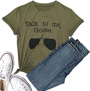 Hellopopgo Talk to Me Goose Sunglasses Funny Soft T-Shirt Women's Casual Short Sleeve Tops Tee for Sport, Mama Life