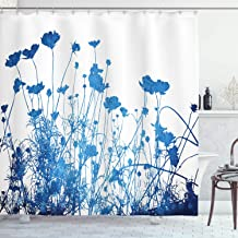 Ambesonne Abstract Shower Curtain, Silhouette of Summer Wildflowers Blooms Grass Garden Foliage Illustration, Cloth Fabric Bathroom Decor Set with Hooks, 84 Long Extra, White Blue