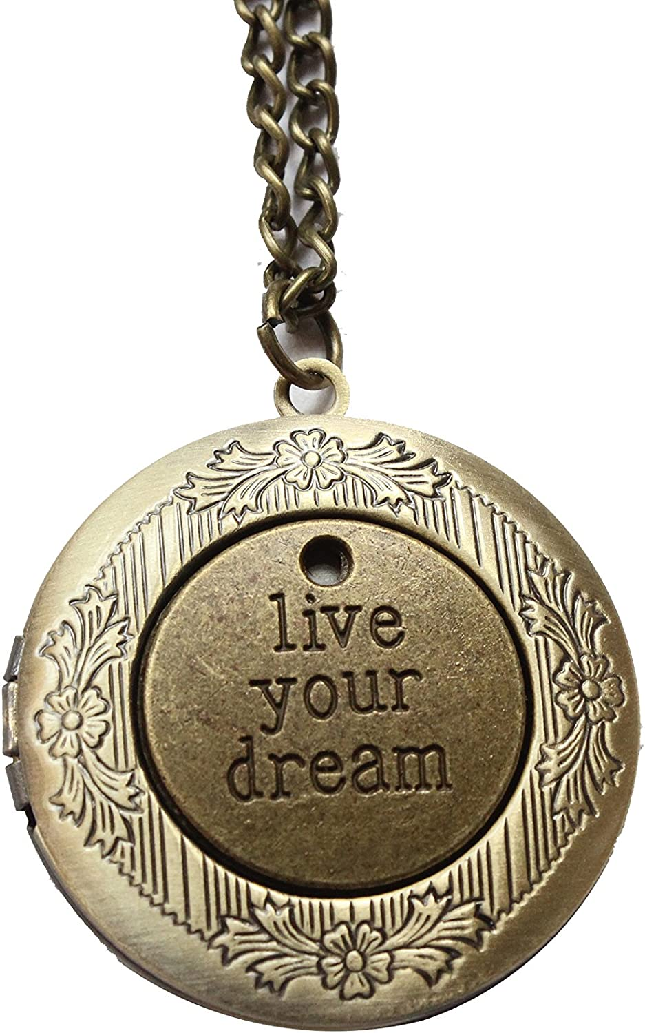Antique Bronze Live Your Dream Locket Necklace Victorian Jewelry Gift Vintage Style