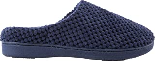 Women's Textured Microterry Low Back Slippers with Memory Foam, Navy Blue, Large