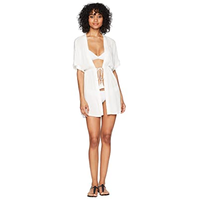 LAUREN Ralph Lauren Crinkle Rayon Dress Cover-Up (White) Women