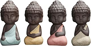 UOON Cute Small Buddha Statue Monk Figurine Outdoor Home Decor - 6pcs