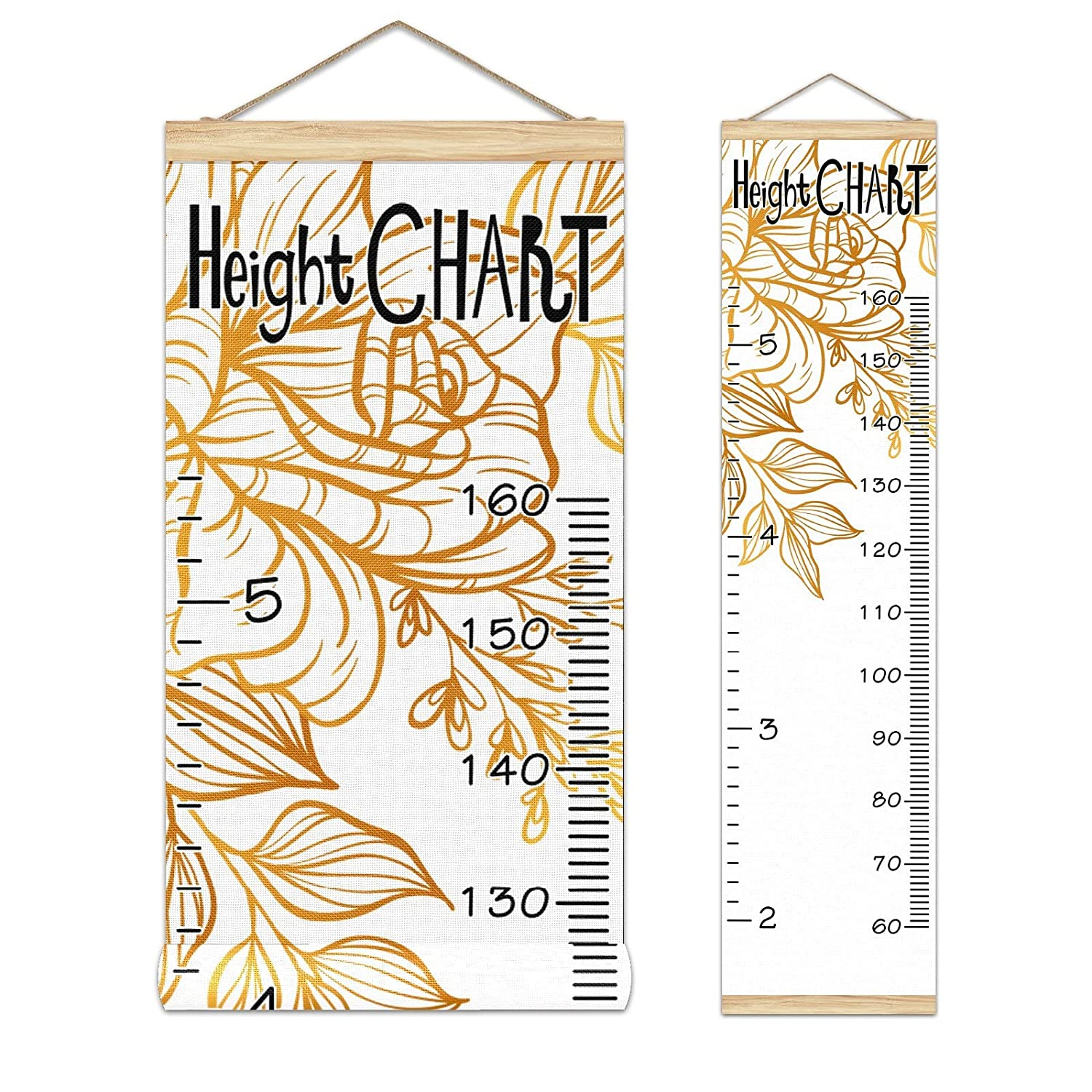 Growth Chart Kid's Cheap mail order shopping Bargain sale Height Golden Pattern-01 Floral