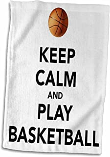 3D Rose Keep Calm and Play Basketball White and Black TWL_171918_1 Towel, 15