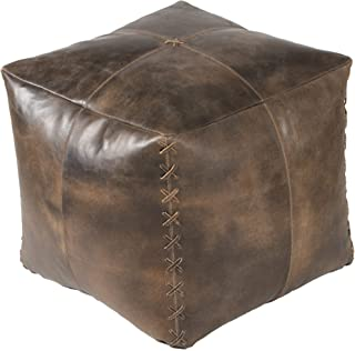 "MH London Pouf - Scrunched Genuine Leather I Handmade, Ottoman Modern Stool Cube Foot Stool I 18"" x 20"" x 20"" I Harper, Brown"