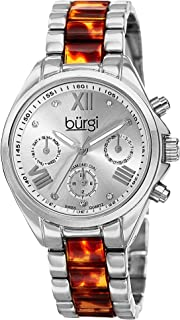 Burgi Women's BUR130SS Diamond Accented Silver & Tortoise Resin Multifunction Bracelet Watch