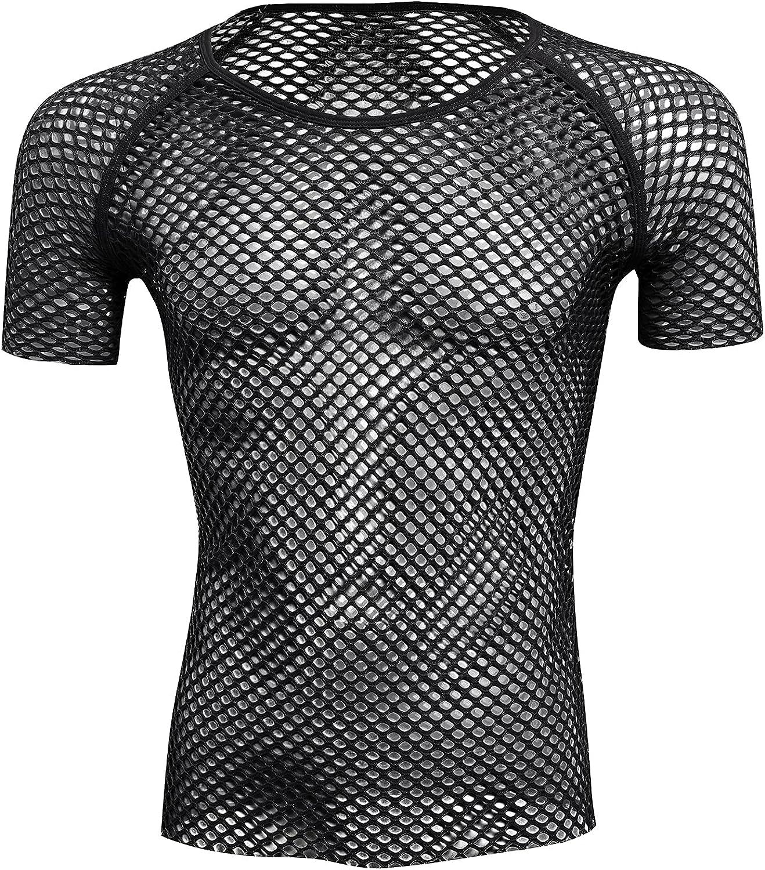ABAFIP Men's Import Grid Mesh Fishnet Tank Sli Top Max 61% OFF Sleeve T-Shirt Short