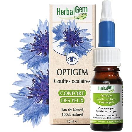 HerbalGem Optigem Gouttes Oculaires de confort pour le dessèchement et l'irritation oculaire, Soulagement rapide des yeux sensibles, Eau de bleuet, 10 ml