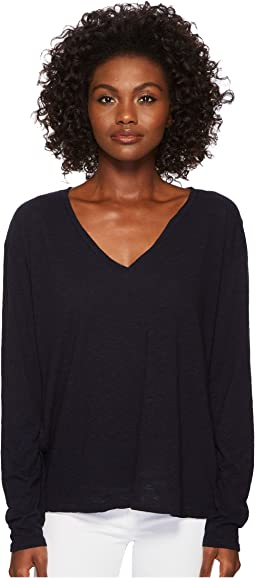Three Dots - Eco Knit Long Sleeve V-Neck w/ Side Slits