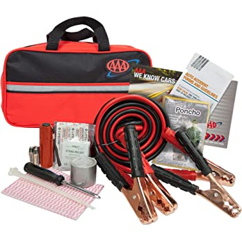 Lifeline AAA Premium Road Kit, 42 Piece Emergency Car Kit with Jumper Cables, Flashlight and First Aid Kit