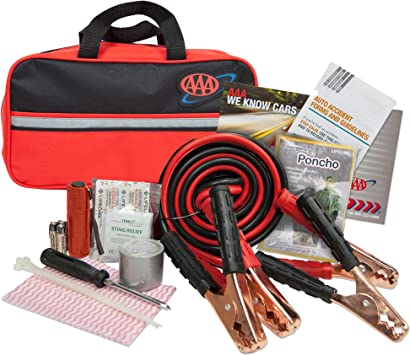 Lifeline AAA Premium Road Kit, 42 Piece Emergency Car Kit with Jumper Cables, Flashlight and First Aid Kit,4330AAA,Black: image