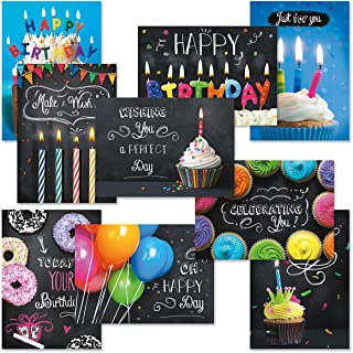 Bright Blackboard Birthday Greeting Card Value Pack – Set of 18 (9 Designs), Large 5 x 7 inches, Envelopes Included, by Current