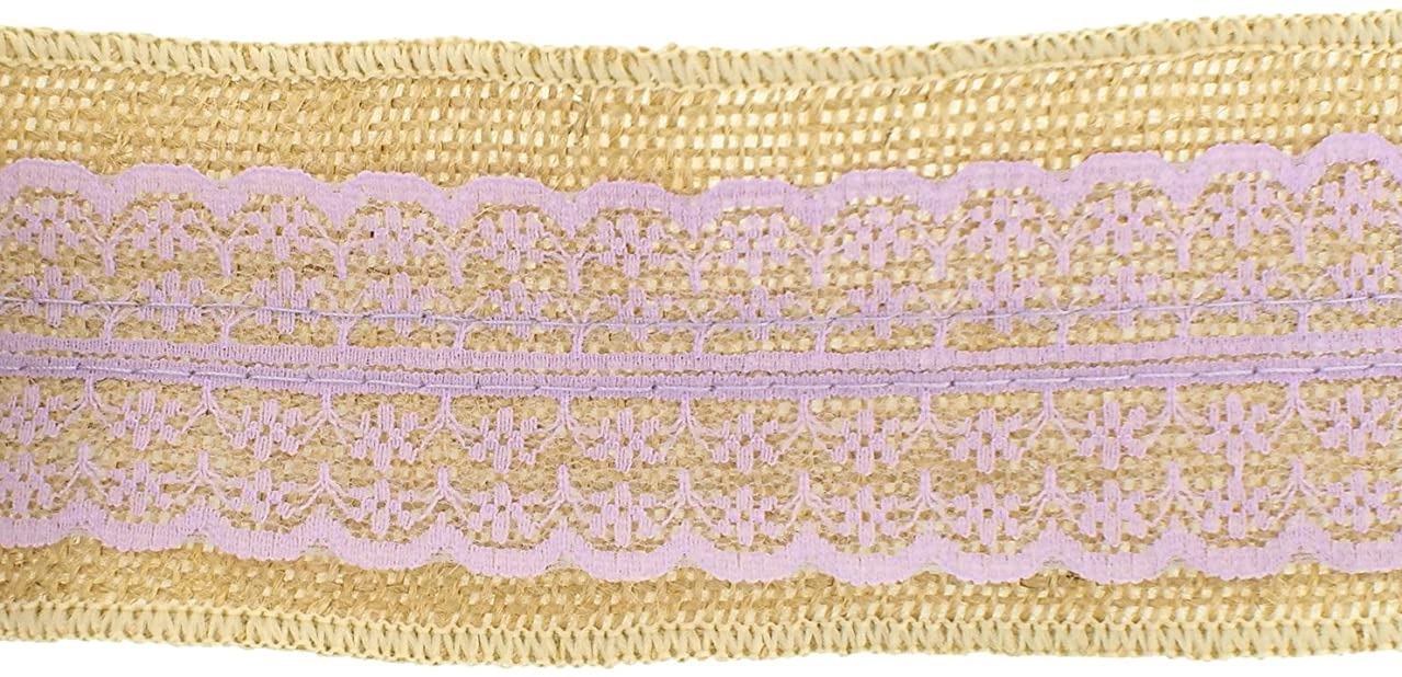 Trimweaver 2-Yard Natural Burlap with Light Orchid Lace Ribbon for Craft, 2.5-Inch