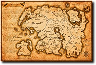 Mile High Media Elder Scrolls Map of Tamriel Poster 24x36 Inch Wall Art Portrait Print