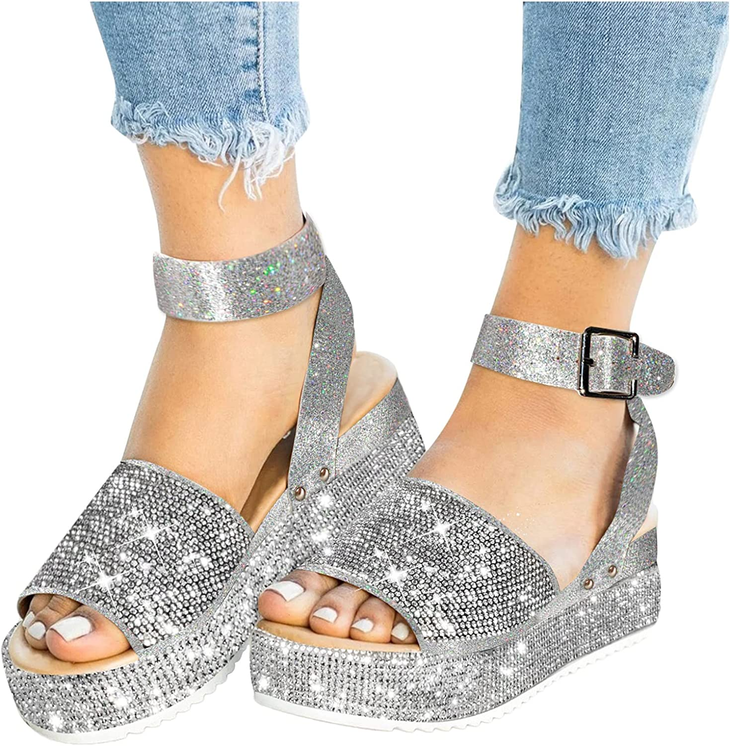 Xudanell Mail order Sandalias Mujer Cork Sole Rh Studded Regular discount Low Sparkle Wedges