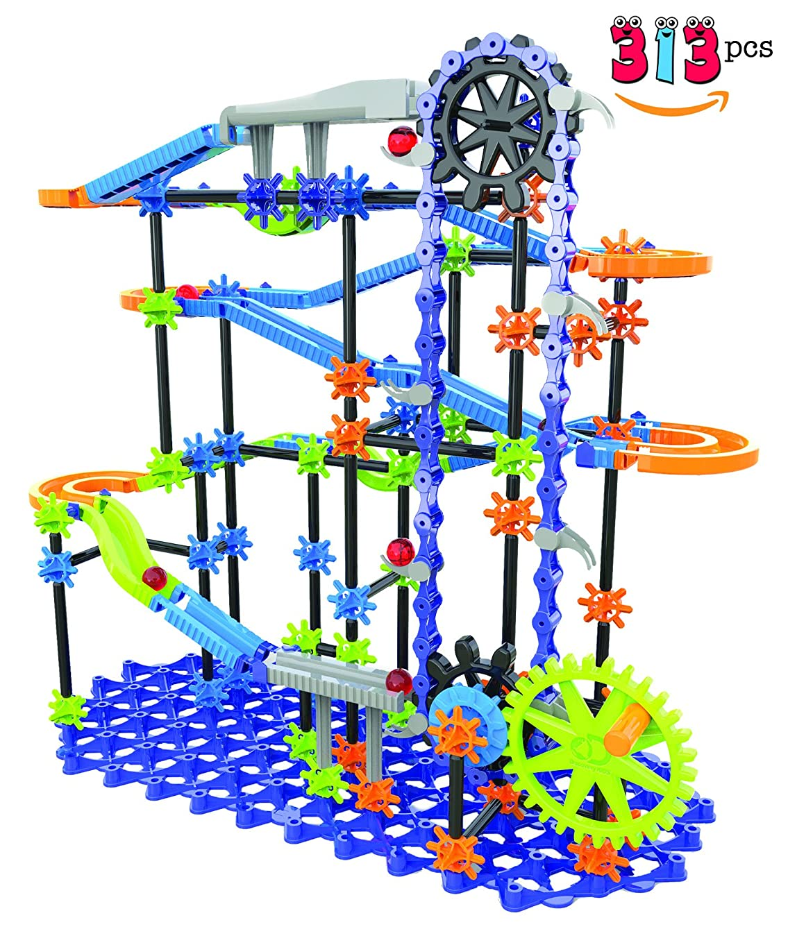 Discovery Kids Ultimate Marble Race Toy for Kids 313 Pieces | Stimulates Creativity, Imagination & Motor Skills, Sturdy Colorful Design, Endless Combinations for Science and Engineering