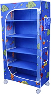 Little One's | 5 Shelves Baby Foldable Wardrobe | Aquatic Blue (Made in India)