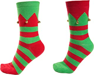 Christmas Elf Socks with Jingle Bells, 2 Pair, Stretch One Size Fits Most, Adult