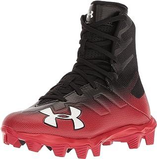 Under Armour Boys' Highlight RM Jr. Football Shoe, Black (003)/Red, 6