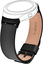 V-MORO Leather Band for Gear S2 Bands Black Soft Replacement with Stainless Steel Metal Adapters Bracelet for Samsung Gear S2 SM-R720 / SM-R730 Sports Smartwatch 6.7