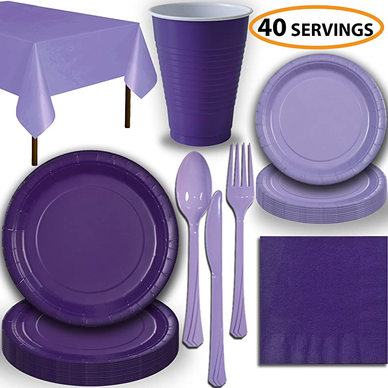 Disposable Party Supplies Serves 40 Purple And Lavender Large And Small Paper Plates 12 Oz Plastic Cups Heavyweight Cutlery Napkins And Tablecloths Full Two Tone Tableware Set