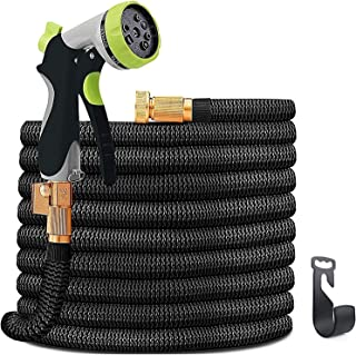 INNOLI Water Hose 100ft for Garden Lightweight Expandable Flexible Durable Water Hose with Spray Nozzle and 3/4 Nozzle Solid Brass Connector
