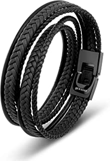 SERASAR   Premium Leather Wrap Bracelet [Wrap] for Men in Black & Brown   Different Lengths   Stainless Steel Clasp   Incl...