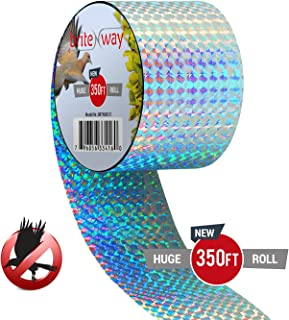 Premium Quality Bird Deterrent Reflective Scare Tape Ribbon 350 ft Long – Pest Control Dual-sided Repellent For Pigeons, Grackles, Woodpeckers, Geese, Herons, Blackbirds & More – Sturdy & Ultra Strong