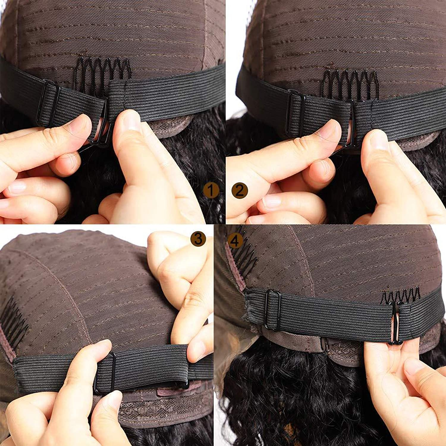 BLUPLE 6 Pcs Black Elastic Band with Adjustable Strap for Wigs Caps//Lace Closures//Lace Frontal Sewing Band 1 Inch width