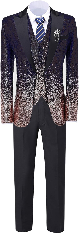 Men's 3 Pieces Leisure Mens Suit Slim Fit Notch Lapel Changing Color Sequins Tuxedos