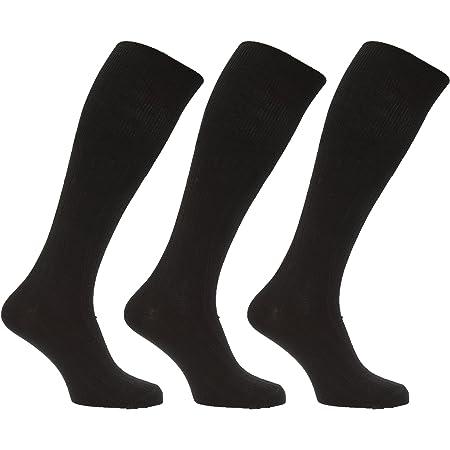 Mens Long Length Ribbed Lambswool Blend Socks (Pack Of 3)